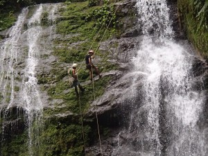 The ladies of Rainforest, River & Reef rappel down a waterfall on course!